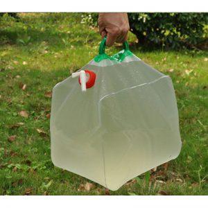 מיכל מתקפל עם ברז עבור מים 20 ליטר גמיש שקוף