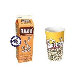 מלח חמאה לפופקורן FLAVACOL המקורי + שרוול כוסות פופקורן (50 יח') 630 ml